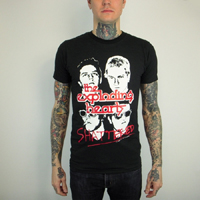 Exploding Hearts- Shattered on a black ringspun cotton shirt