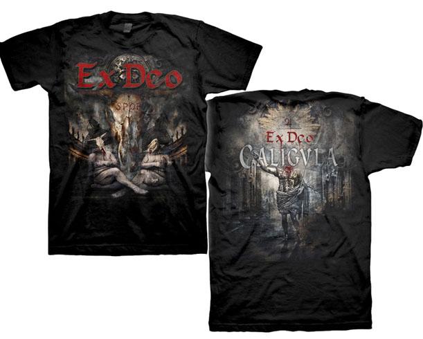 Ex Deo- Bull Skull on front, Caligula on back on a black shirt (Sale price!)