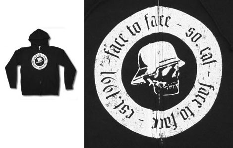 Face To Face- Kaiser Skull on a black zip up hooded sweatshirt