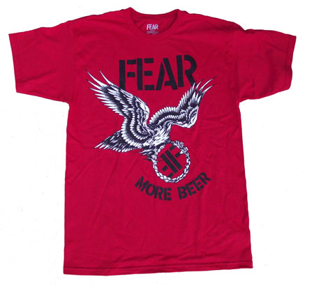 Fear- More Beer (Eagle) on a red ringspun cotton shirt