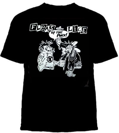 Fleas And Lice- Up The Punx on a black shirt (Sale price!)