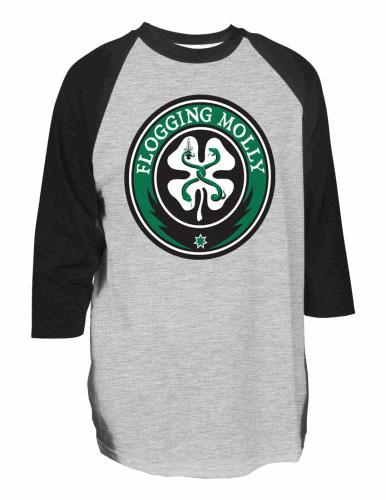 Flogging Molly- Shamrock Logo on a grey/black 3/4 sleeve shirt