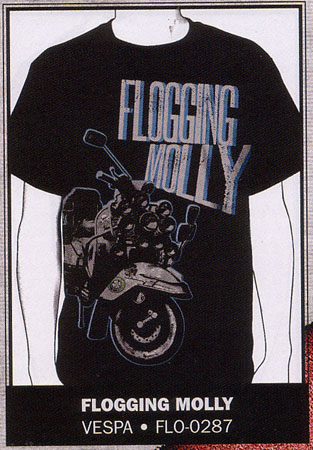 Flogging Molly- Vespa on a black guys slim fit shirt (Sale price!)