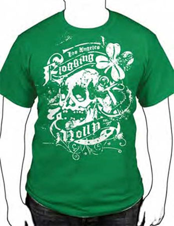 Flogging Molly- Vintage Irish Skull & Shamrock on a green guys slim fit shirt