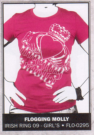 Flogging Molly- Irish Ring on a fuschia girls fitted shirt (Sale price!)