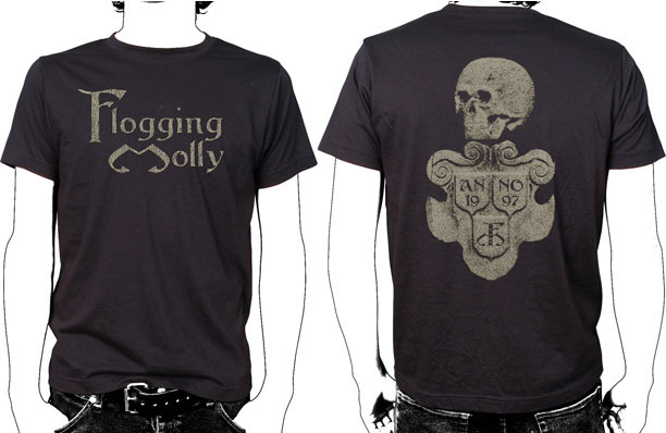 Flogging Molly- Logo on front, Statue on back on a black shirt (Sale price!)