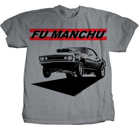 Fu Manchu- Muscle Car on a grey ringspun cotton shirt