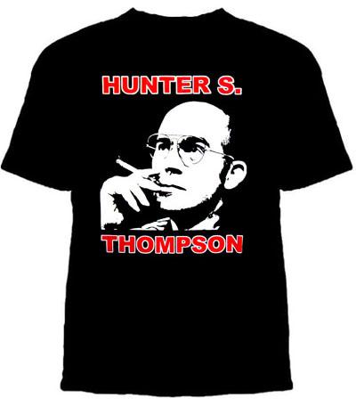 Hunter S Thompson-  Smoking on a black shirt