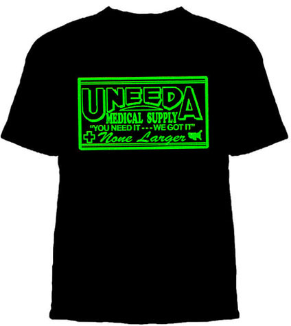 Return Of The Living Dead- Uneeda Medical Supply on a black shirt (Sale price!)