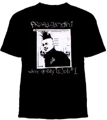 Propagandhi- Where Quality Is Job #1 on a black shirt (Sale price!)