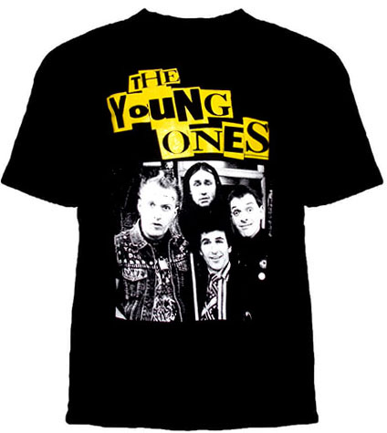 Young Ones- Cast (Yellow Logo) on a black shirt