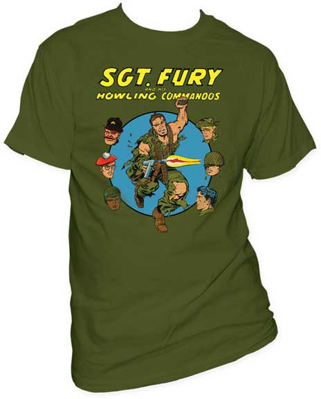 Marvel Comics- Sgt Fury And The Howling Commandos on an army green shirt