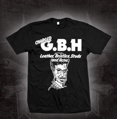 GBH- Leather Bristles Studs And Acne on a black shirt (Sale price!)