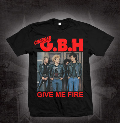 GBH- Give Me Fire (Red Logo, Color Pic) on a black shirt (Sale price!)