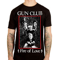 Gun Club- Fire Of Love on a black ringspun cotton shirt by Lethal Amounts