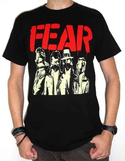Fear- Gas Masks on a black ringspun cotton shirt