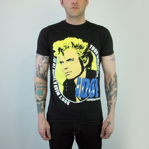 Generation X- Billy Idol (Your Generation) on a black slim fit shirt (Sale price!)