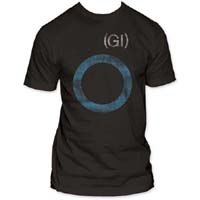Germs- Distressed GI Circle on a coal ringspun cotton shirt