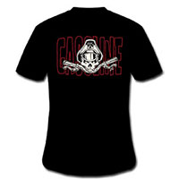 Gasoline Clothing- Logo on front, Bones N Bars on back on a black shirt (Sale price!)