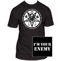 GG Allin- War In My Head (Round Image) on front, I'm Your Enemy on back on a black shirt