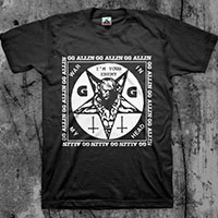 GG Allin- War In My Head (Square Image) on a black shirt