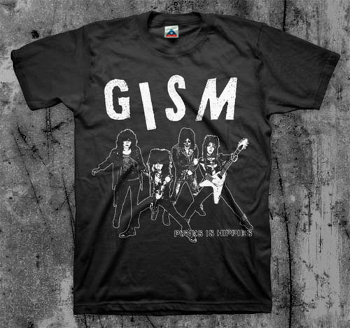 GISM- Punks Is Hippies on a black shirt