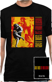 Guns N Roses- Use Your Illusion on front & back on a black shirt