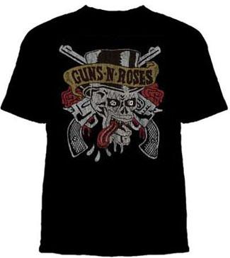 Guns N Roses- Tongue Skull on a black shirt