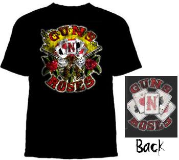 Guns N Roses- Cards Logo on front & back on a black shirt
