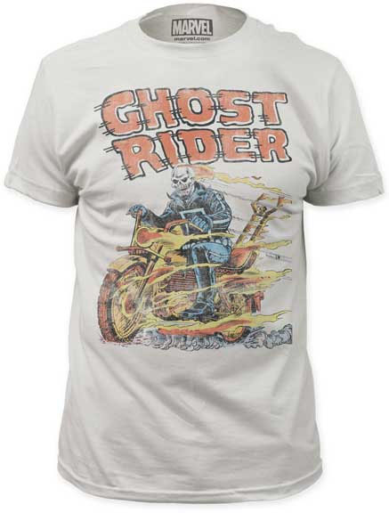Marvel Comics- Ghost Rider, Hell On Wheels on a vintage white ringspun cotton shirt