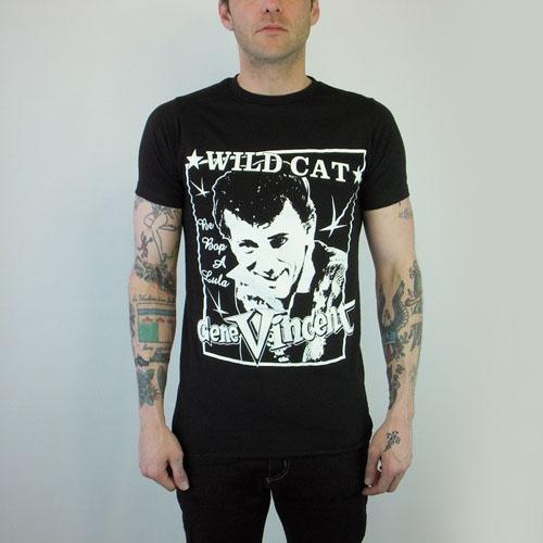 Gene Vincent- Wild Cat on a black slim fit shirt (Sale price!)
