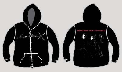 Generation X- Logo on front, Valley Of Dolls on back on a black zip up sweatshirt (Sale price!)
