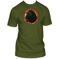 Godzilla- King Of The Monsters on an army green ringspun cotton shirt (Sale price!)