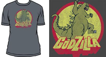 Godzilla- Vintage Pic on a grey ringspun cotton shirt (Sale price!)