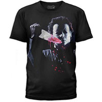 Halloween- Michael Myers With Bloody Knife on a black ringspun cotton shirt by Goodie Two Sleeves