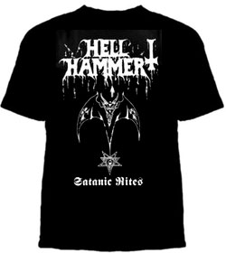 Hellhammer- Satanic Rites on a black shirt