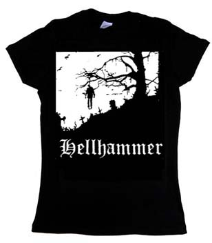 Hellhammer- Hanging on a black girls fitted shirt