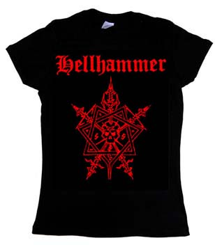 Hellhammer- Pentagram on a black girls fitted shirt