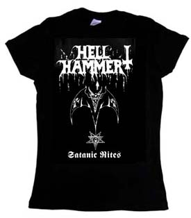 Hellhammer- Satanic Rites on a black girls fitted shirt