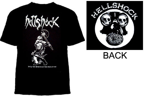 Hellshock- Only The Dead Know The End Of War (Skeleton Swinging Axe) on front, Gas Mask on back on a black YOUTH sized shirt