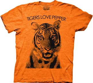 Hangover- Tigers Love Pepper on a heather orange ringspun cotton shirt (Sale price!)
