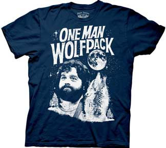 Hangover- One Man Wolfpack on a navy shirt (Sale price!)