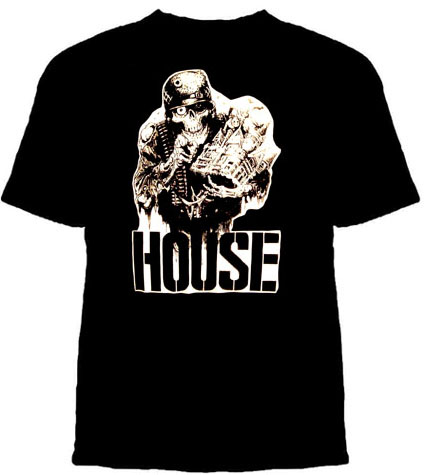 House- Skeleton on a black YOUTH sized shirt