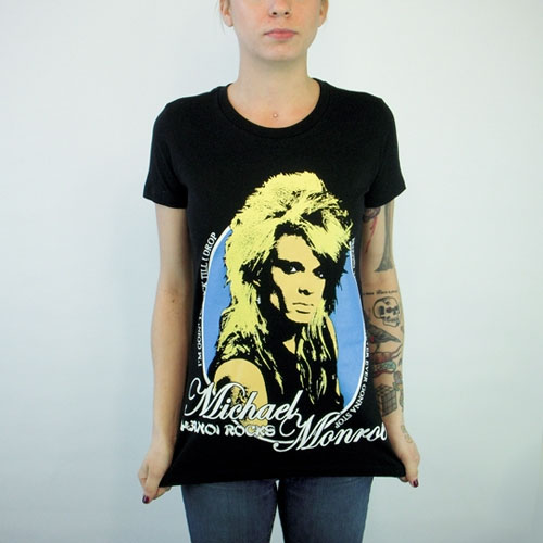 Hanoi Rocks- Michael Monroe on a black girls fitted shirt (Sale price!)