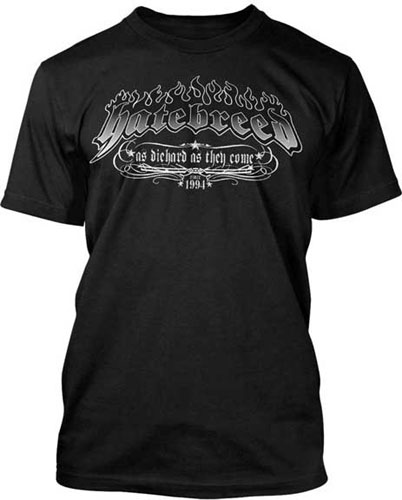 Hatebreed- As Die Hard As They Come (Logo & Flames) on a black shirt