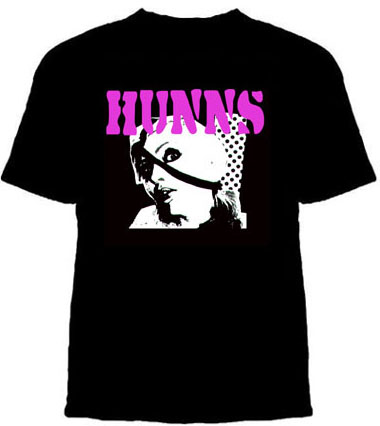 Hunns- Debbie on a black YOUTH sized shirt (Duane Peters) (Sale price!)