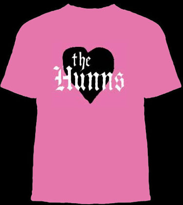 Hunns- Black Heart on a pink YOUTH sized shirt (Duane Peters) (Sale price!)