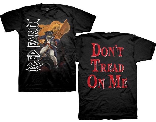 Iced Earth- Soldier on front, Don't Tread On Me on back on a black shirt (Sale price!)
