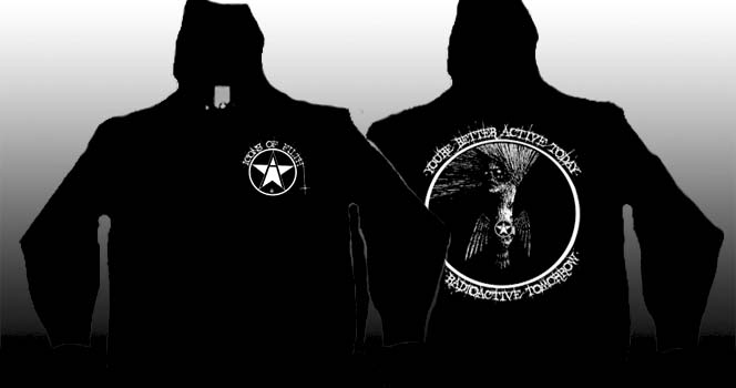 Icons Of Filth- Logo on front, Better Active Today Than Radioactive Tomorrow on back on a black zip up hooded sweatshirt