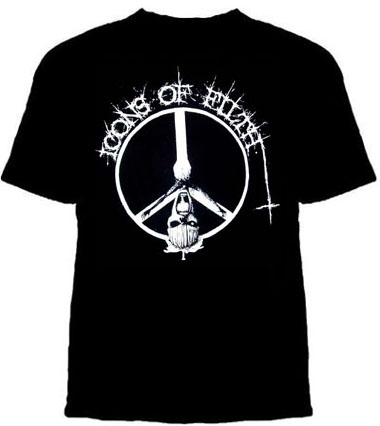 Icons Of Filth- Crucifix on a black YOUTH sized shirt